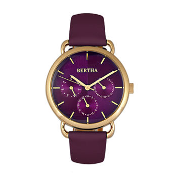Bertha Womens Purple Leather Strap Watch-Bthbr8305