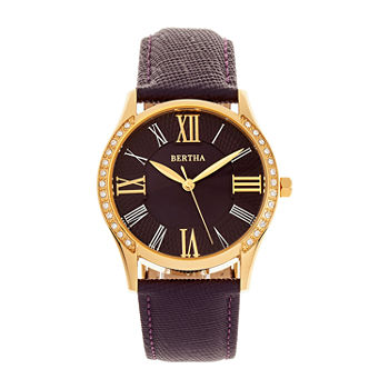 Bertha Womens Purple Leather Strap Watch-Bthbr8403