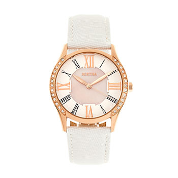 Bertha Womens White Leather Strap Watch-Bthbr8404