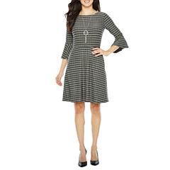 Alyx 3/4 Sleeve Stripe Fit & Flare Dress