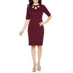 Liz Claiborne Elbow Sleeve Sheath Dress