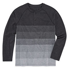 Arizona Long Sleeve Textured Henley-Big Kid Boys