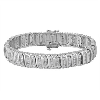 Pure Silver Over Brass 7.5 Inch Link Bracelet