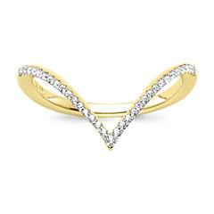 1/10 CT. T.W. Diamond 10K Yellow Gold Chevron Knuckle Ring