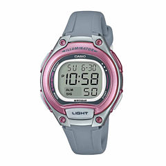 Casio Table Illuminator Womens Gray Strap Watch-Lw203-8vpb