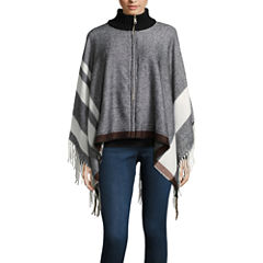 Mixit Striped Zip-Up Fringe Cold Weather Wrap