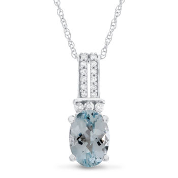 Fine Jewelry 1/5 CT. T.W. Diamond and Genuine Aquamarine 10K White Gold Hoop Drop Pendant Necklace XSKusD