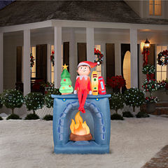 Elf on the Shelf on a Fireplace Airblown Lawn Decor