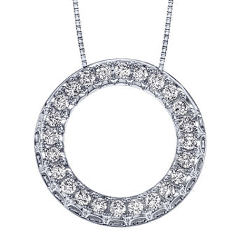 Womens 1/2 CT. T.W. Genuine Diamond 14K White Gold Pendant Necklace