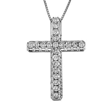 Womens 1/2 CT. T.W. Genuine Diamond 14K White Gold Cross Pendant Necklace
