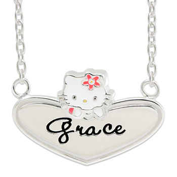 Hello Kitty® Personalized Sterling Silver and Enamel Heart Necklace