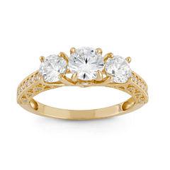 Diamonart Womens 2 CT. T.W. Lab Created Round White Cubic Zirconia 10K Gold 3-Stone Ring