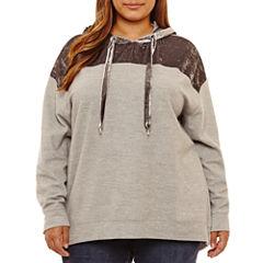 Boutique + Long Sleeve Velvet Hoodie Plus
