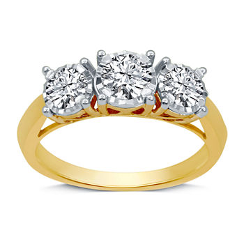 Womens 1 CT. T.W. Genuine White Diamond 10K Gold 3-Stone Engagement Ring