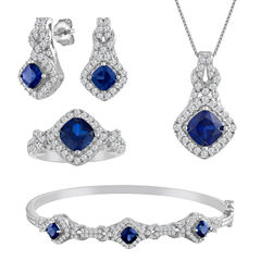 Womens 4-pc. Lab-Created Blue Sapphire & Cubic Zirconia Silver Over Brass Jewelry Set