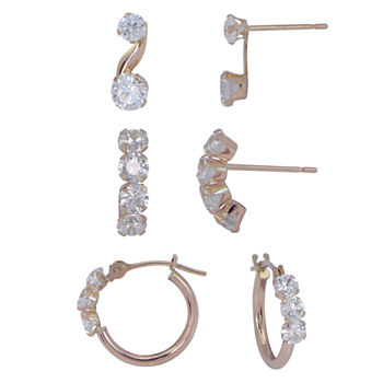 Womens 3 Pair Cubic Zirconia 14K Gold Earring Set