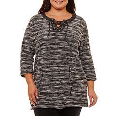 Liz Claiborne Kanga Pocket Lace Up Tunic- Plus