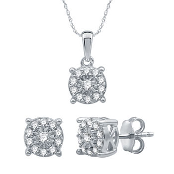 1/2 CT. T.W. Genuine Diamond Sterling Silver 2-pc. Jewelry Set