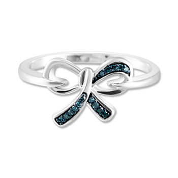 Womens Diamond Accent Genuine Blue Diamond Sterling Silver Bow Cocktail Ring