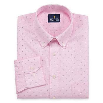 Stafford Mens Non-Iron Cotton Pinpoint Oxford Big and Tall Dress Shirt