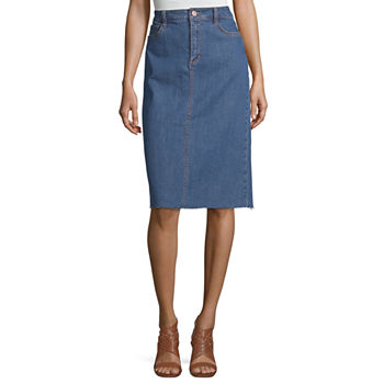 a.n.a Womens Raw Hem Midi Denim Skirt