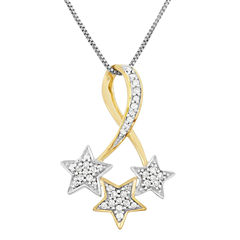 Womens 1/7 CT. T.W. White Diamond Sterling Silver Gold Over Silver Pendant Necklace