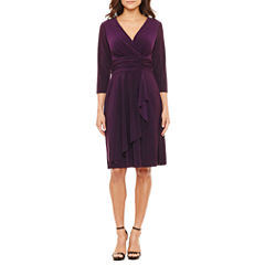 Black Label by Evan-Picone 3/4 Sleeve Fit & Flare Dress