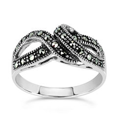 Swarovski Womens Black Marcasite Sterling Silver Cocktail Ring
