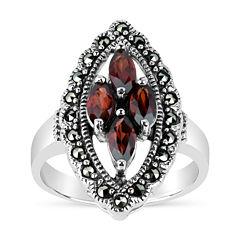 Swarovski Womens Genuine Black Marcasite Sterling Silver Cocktail Ring