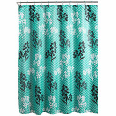 Whimsey Leaves with Metal Hooks Shower Curtain Set
