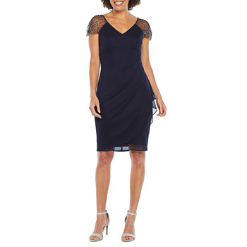 DJ Jaz Cap Sleeve Embellished Sheath Dress
