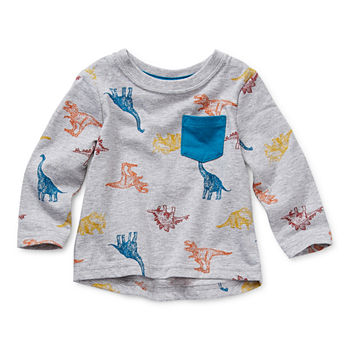 Okie Dokie Baby Boys Crew Neck Long Sleeve T-Shirt