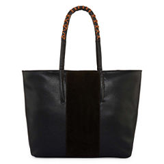 Boiyi Suede Middle Panel Large Tote Bag