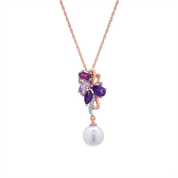 Fine Jewelry Womens Purple Amethyst Gold Over Silver Pendant Necklace