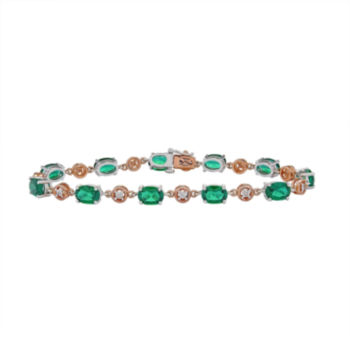 Fine Jewelry Womens Green Emerald Sterling Silver Tennis Bracelet ACJU0