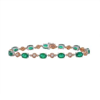 Fine Jewelry Womens Green Emerald Sterling Silver Tennis Bracelet