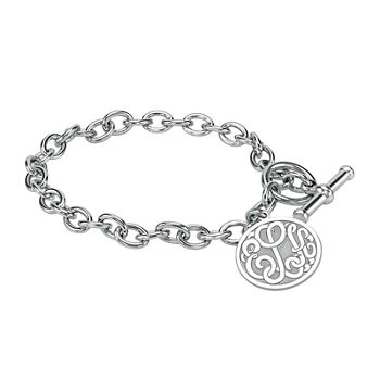 Personalized Sterling Silver 20mm Monogram Charm Bracelet