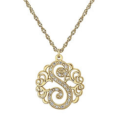 Personalized Diamond-Accent 14K Gold Over Silver Initial Pendant Necklace