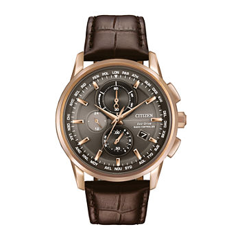 Citizen World Chronograph A-T Mens Chronograph Atomic Time Brown Leather Strap Watch-At8113-04h