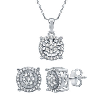 Diamond Blossom 1/2 CT. T.W. Genuine Diamond Sterling Silver 2-pc. Jewelry Set