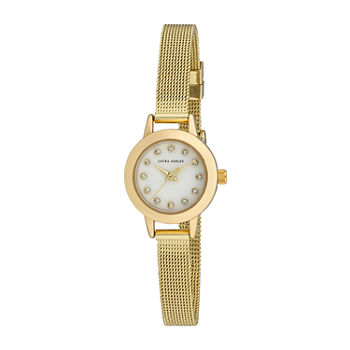 Laura Ashley Womens Gold Tone Stainless Steel Strap Watch-La2022yg