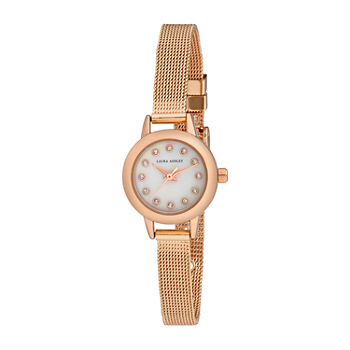 Laura Ashley Womens Rose Goldtone Stainless Steel Strap Watch-La2022rg