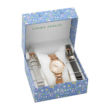 Laura Ashley Womens Stainless Steel Watch Boxed Set-Lass1107rg