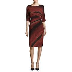 Robbie Bee 3/4 Sleeve Stripe Sheath Dress