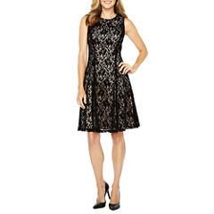 Liz Claiborne Sleeveless Flocked Lace Fit & Flare Dress