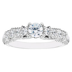 Enchanted By Disney Womens 3/4 CT. T.W. Genuine Round White Diamond 14K Gold Engagement Ring