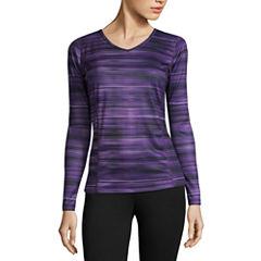 St. John's Bay Active Long Sleeve V Neck T-Shirt-Womens