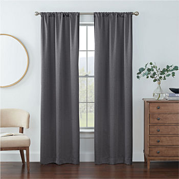 Eclipse Kerry Geo Energy Saving Blackout Rod-Pocket Set of 2 Curtain Panel