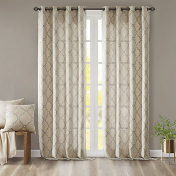 Madison Park Westmont Fretwork Print Light-Filtering Grommet-Top Single Curtain Panel