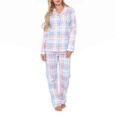 White Mark Flannel 2-pc. Plaid Pant Pajama Set